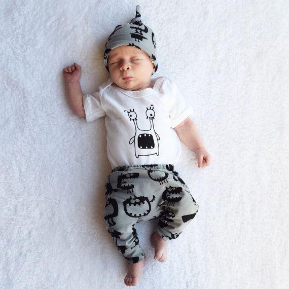 Monster print baby leggings  toddler leggings  by FredandNoah