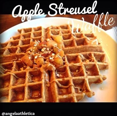 Ripped Recipes - Apple Streusel  Waffle With Cashew Butter - Dessert for breakfast! Top with your favorite nut butter.
