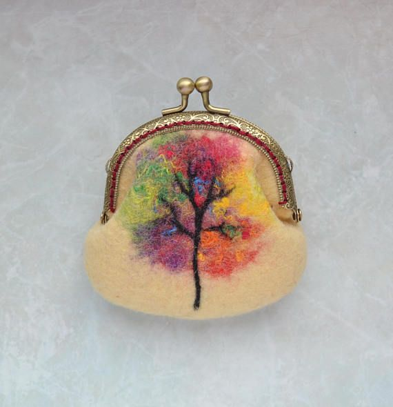 Change purse Yellow Autumn tree Coin purse Felt purse Small makeup case Framed purse Makeup bag Yellow gift for girlfriend Eco gift for mom This felted change purse with a kiss-lock was made from wool using wet felting technique, whereas the picture was attached to it using felt