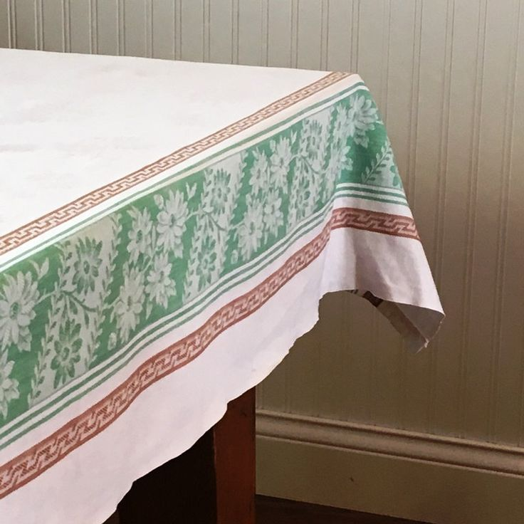 Damask Tablecloth, White Cotton Damask Tablecloth With Green Floral And  Brown Geometric Borders