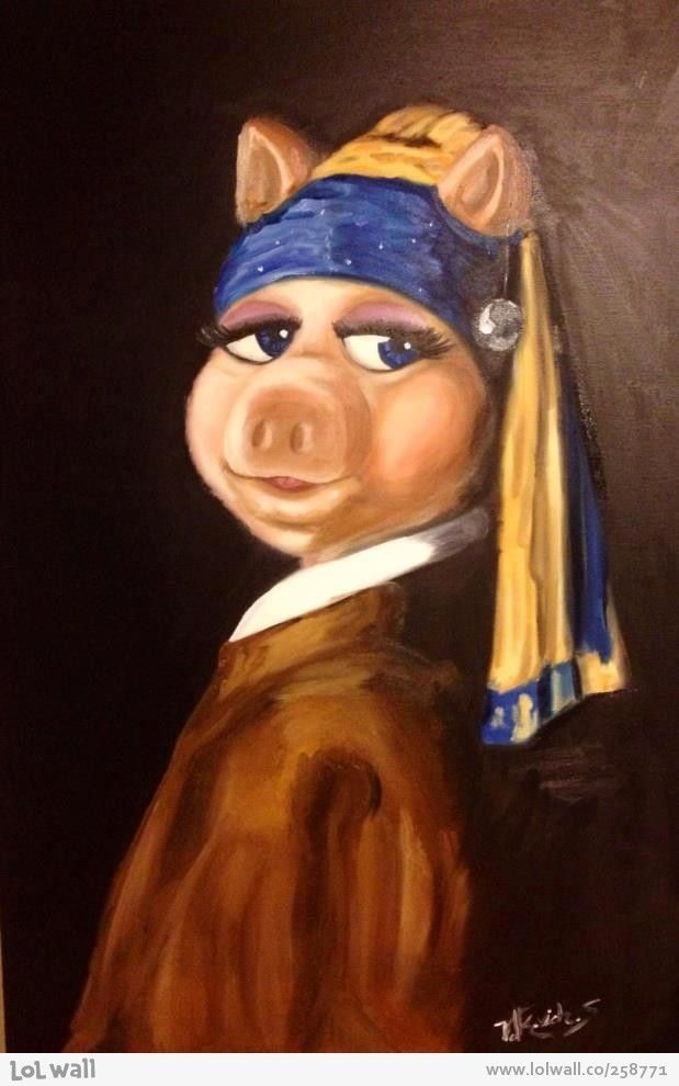 The Muppets - The Pig with the Pearl Earring [Girl with a Pearl Earring Vermeer c. 1665-1666; Oil on canvas, 44.5 x 39 cm; Royal Cabinet of Paintings Mauritshuis, The Hague]