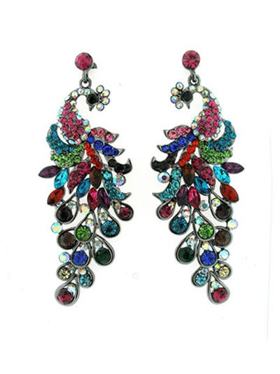 Gorgeous Glitzy Peacock Earrings - ♥ Towie Bling The only way is Essex ♥