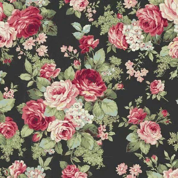papier met rozen op zwarte achtergrond