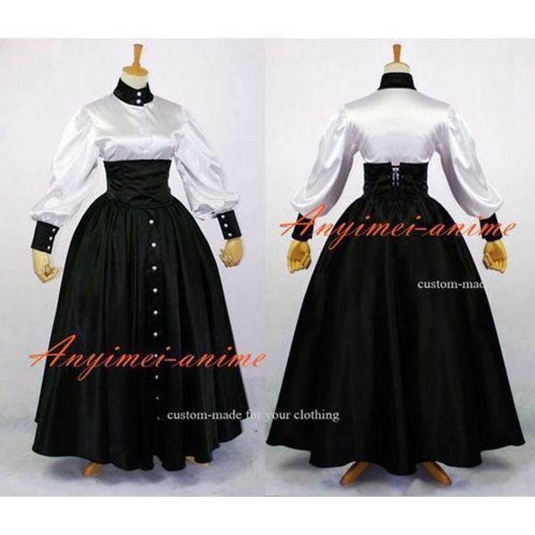 Sissy Maid Gothic Lolita Punk Black-White Satin Dress Cosplay Costume Custom-Made[G632] - Sissy Maid Uniform