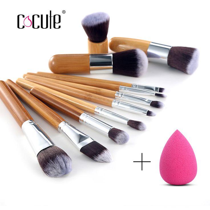 Cocute 11 Stks Bamboe Handvat Makeup Oogschaduw Blush Concealer Borstel Set Met Blender Make Sponzen