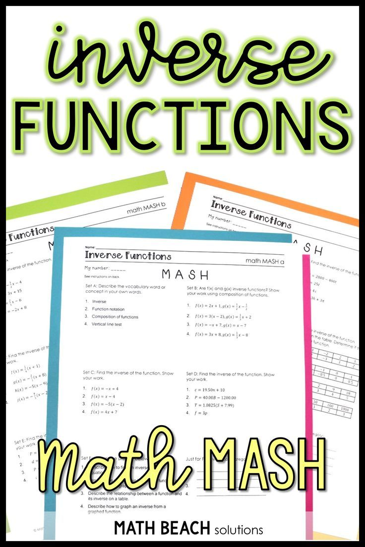 Did You Ever Play Mash As A Kid In School This Inverse Functions Version Is A Fun Way To Create Custom Inv Functions Math Algebra Worksheets Algebra Resources