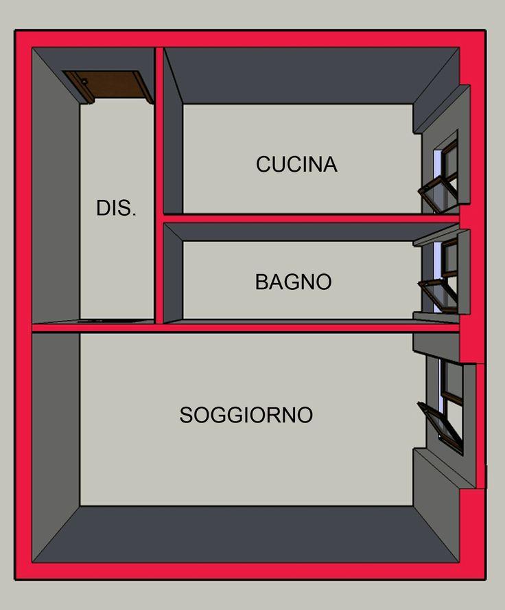 In questo appartamento non c'era una camera ma solo un soggiorno e tutto risultava molto piccolo con un ingresso buio.