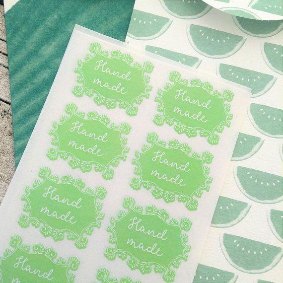 Ornate hand made sticker Hand made business sticker Green