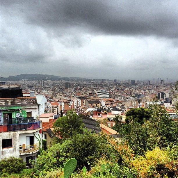 Rainy day in Barcelona (Spain)
