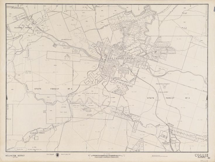 """COLLIE REGIONAL Cadastral map showing land use. """"July 1947"""" Part of collection: Townsite maps, Western Australia. https://encore.slwa.wa.gov.au/iii/encore/record/C__Rb1879117"""