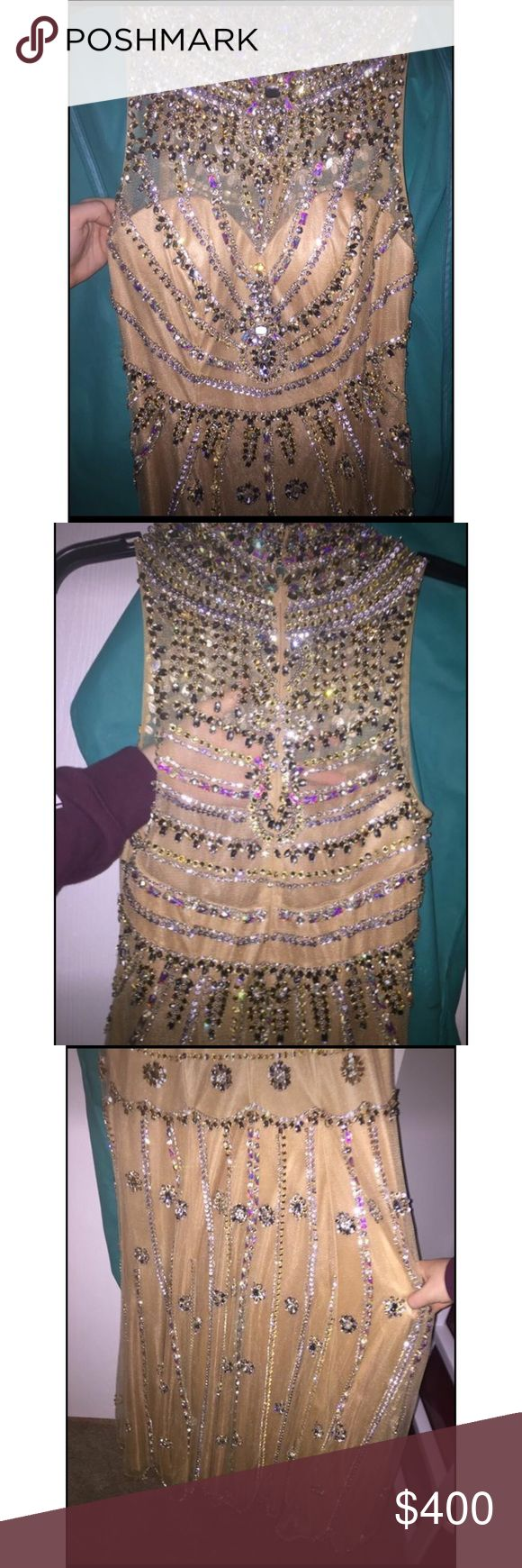 Sherri Hill dress Gold/champagne colored sequin&jewel dress. Looks amazing on and way better in person! Worn for prom. Also have earrings and shoes that match for sale also! Very open to offers! Sherri Hill Dresses Prom