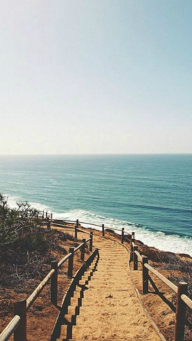 Beach Shore Stairs Path #iPhone #5s #wallpaper