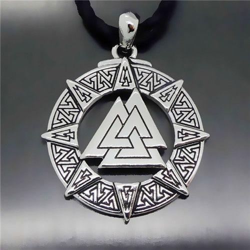 Exclusive design Men's Valknut Odin 's Symbol of Norse Viking Warriors Boy's Pewter Pendant Free Necklace P301