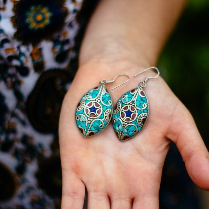 Nepalese Silver Turquoise, Lapis and Coral Earrings from Trouvaille Boutique