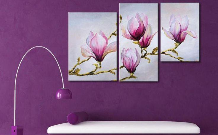 Cuadros flores abstractos tripticos dipticos modernos for Cuadros tripticos para comedor