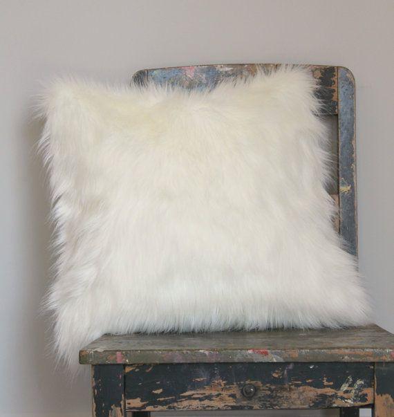 White Fox Faux Fur Pillow Off white fur pillow by northwestdecor