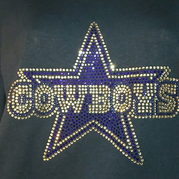 Custom Cowboys Rhinestone Bling shirt Custom Rhinestone Cowboys shirt crew or v neck. Navy Shirt. Great quality Shirt & Stones. Shirt runs true to size and has some spandex. 100 cotton. Ladies fit,  cap sleeve. These stones will NOT come off! Price is firm and the shirts are made to order. Need at least one week to make. If interested I will make another post. Add $3 for xxl. Request larger sizes (however different shirt) Bella Tops Tees - Short Sleeve