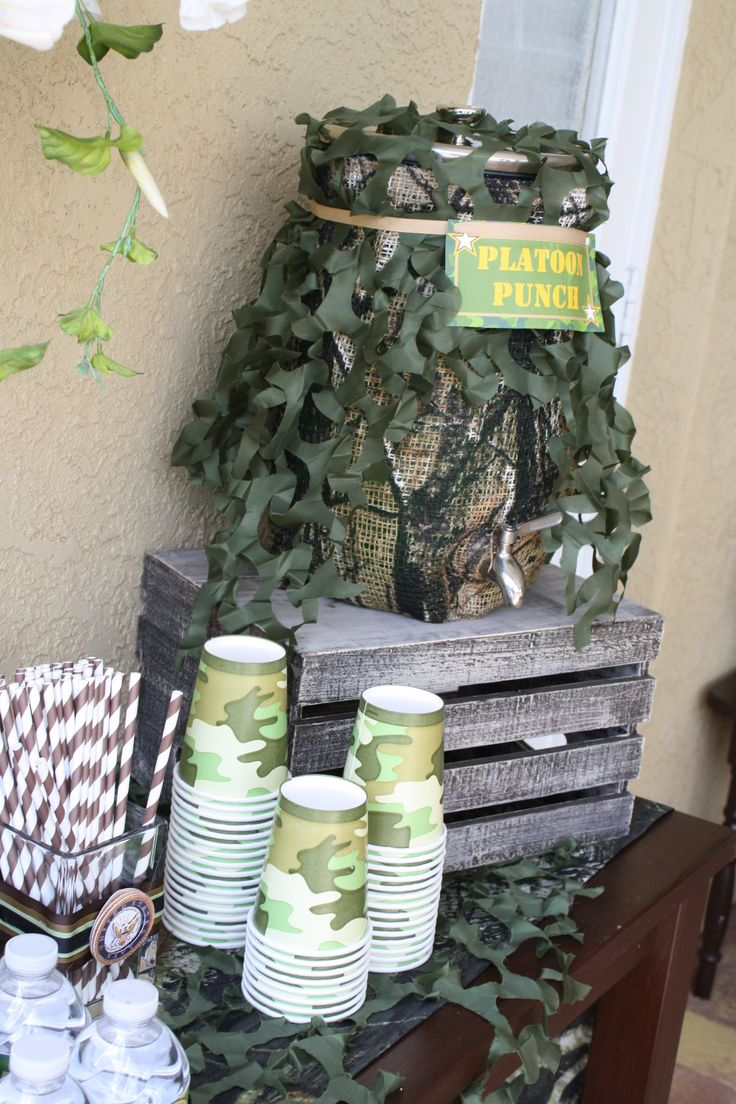 Camo Birthday Party idea - http://camostuff.blogspot.com/  Love this idea for serving drinks!  #camopartysupplies