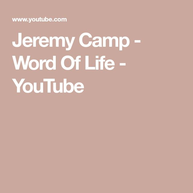 Jeremy Camp - Word Of Life - YouTube