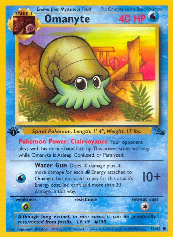 Omanyte 52 62 Fossil Base Set Pokemon Trading Card Game