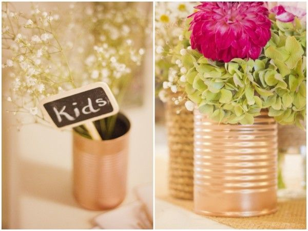 spraypainted tin can centerpieces
