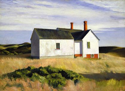 Edward Hopper, Ryders House, 1933, oil on canvas, 91.8 x 99.99 cm. I love Hopper's spare rendering of simple outdoor scenes while being capable of capturing such honest melancholy in his peopled works.