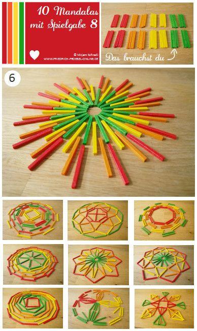 vorlage nr 6 zum mandala legen mit kindern mit dem legespiel spielgabe 8. Black Bedroom Furniture Sets. Home Design Ideas