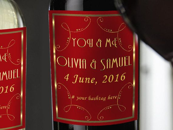Check out this item in my Etsy shop https://www.etsy.com/listing/275545698/wine-bottle-labels-wedding-wine-bottle
