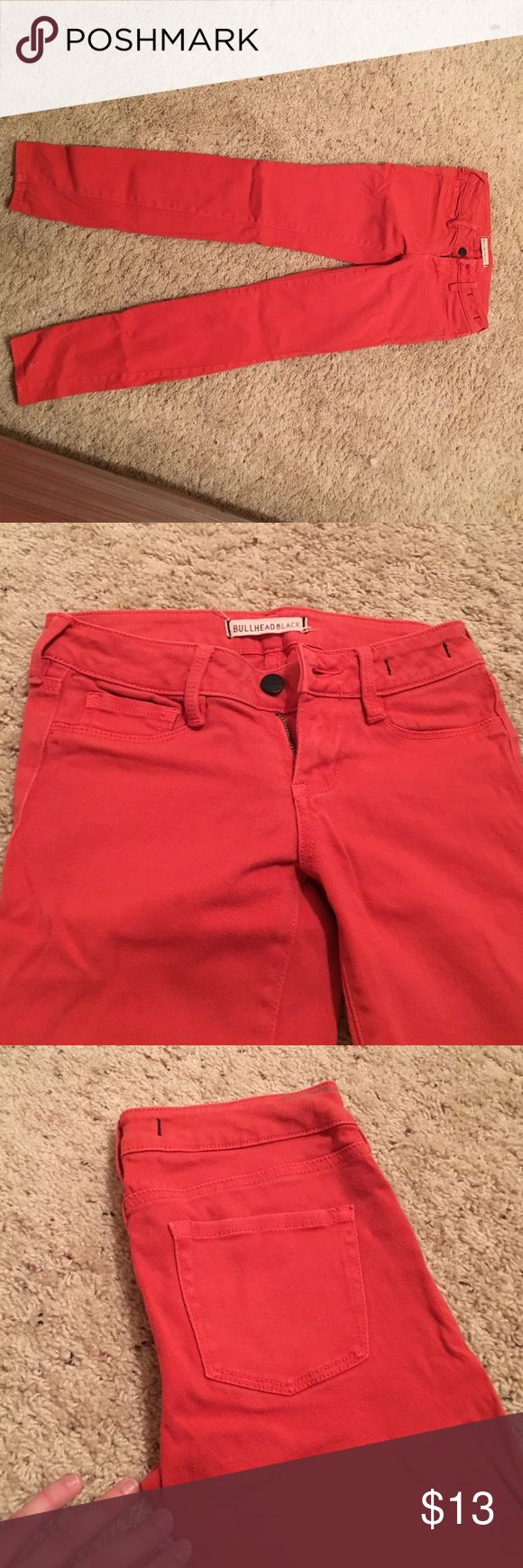 Coral jeans Bright, coral denim jeans Bullhead Jeans Skinny
