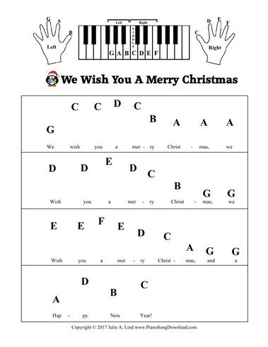 We Wish You A Merry Christmas Pre-Staff with letters for beginning piano lessons.
