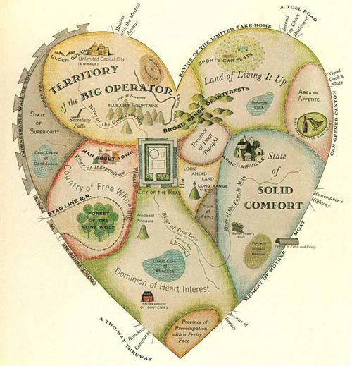 Geographical Guide to a Man's Heart with Obstacles and Entrances: illustration by Jo Lowrey for McCall's Magazine, 1960