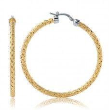 "Charles Garnier 18kt Yellow Gold Over Sterling Silver ""Milan"" Hoop Earrings"