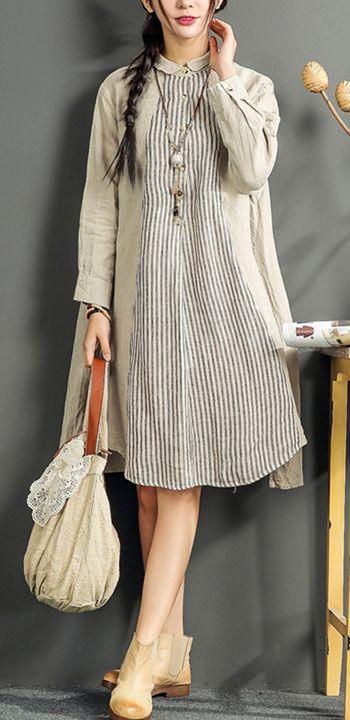 2017 gray linen dresses plus size summer shirt dress patchwork long sleeve sundress