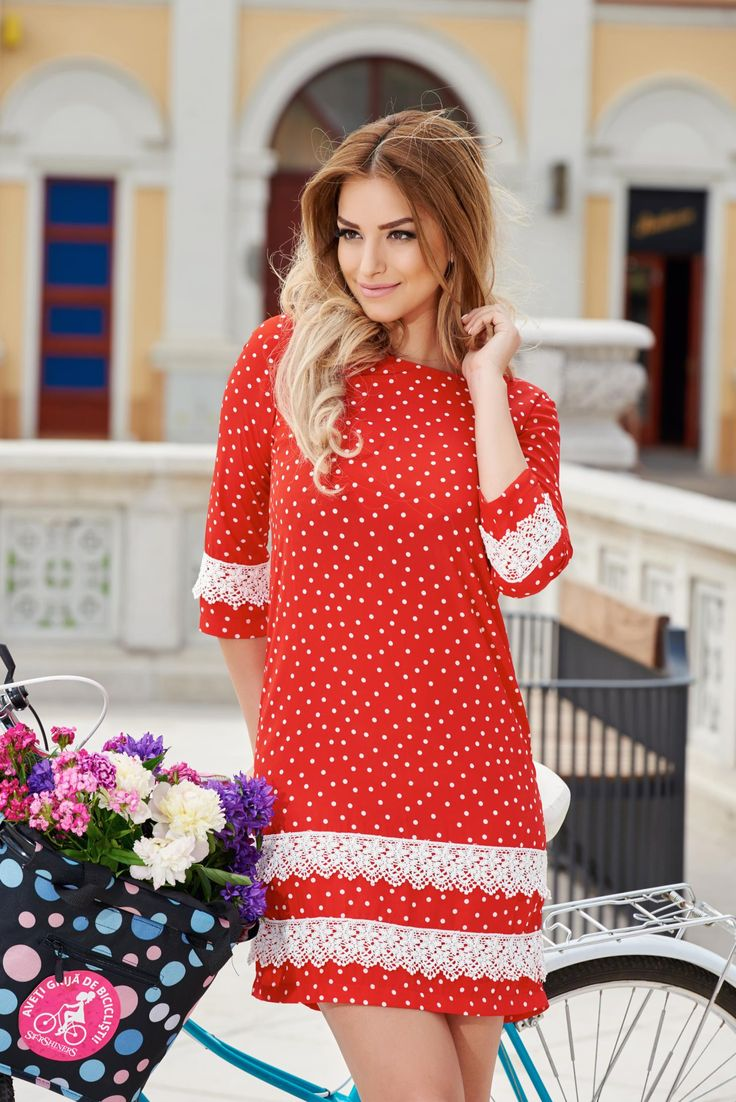 StarShinerS Unlimited Red Dress, accessories may vary, embroidery details, 3/4 sleeves, nonelastic fabric