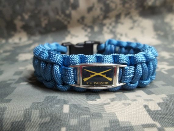 United States Army INFANTRY Insignia Badge INFANTRY BLUE 550lb Paracord Military Survival Bracelet