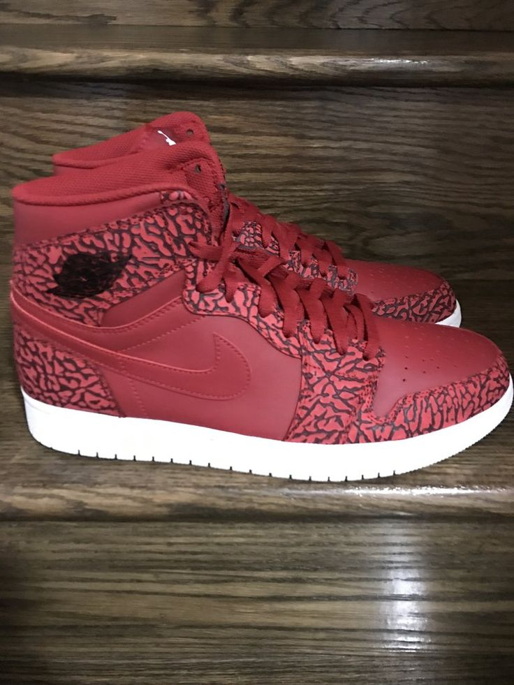 New Mens Retro Air Jordan 1 High Elephat Print Red Sz. 11