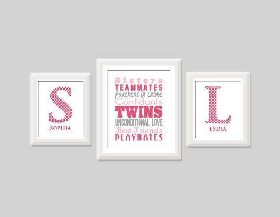 Twin Girl Nursery ArtSet of Three Twin Sister by SweetPapelDesigns