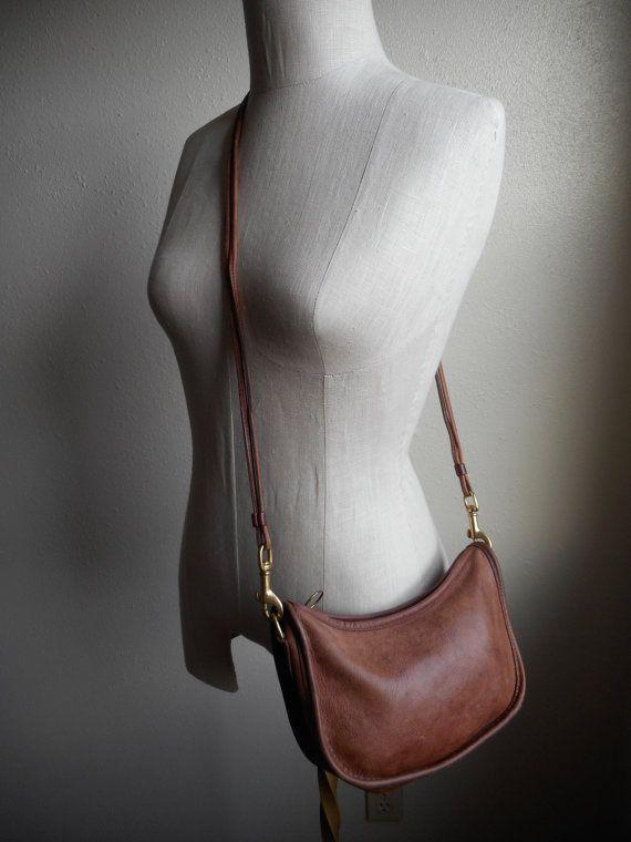 vintage 70s 80s coach leather bag british tan cross by RabiaYMiel