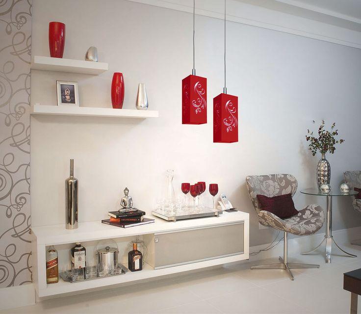 Pendente Florata Duplo Vermelho - 4016/2 VM - Luminária elegante e com design exclusivo da Attena. Com excelente acabamento, é a escolha certa para qualquer ambiente como a mesa de jantar, bancadas, cozinha e áreas gourmet da sua casa. Ilumine-se!