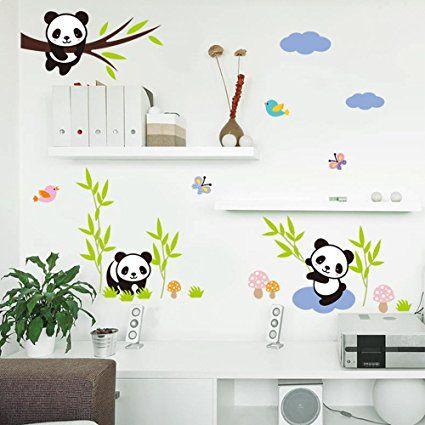 Simple Kinderzimmer Motto Panda Panda Wandsticker Abnehmbare DIY Wandtattoo Aufkleber f r das Kinderzimmer