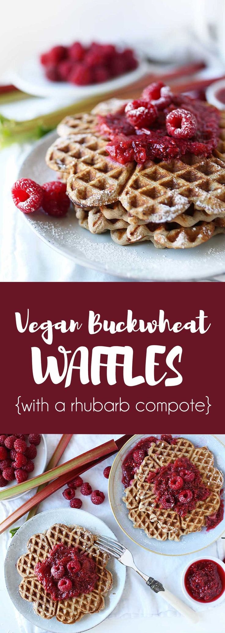 Vegan Buckwheat waffles with a rhubarb-raspberry compote