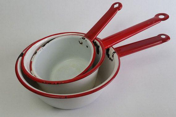 Rustic Enamel Saucepans Red and White Pots by BurlapLinenLace