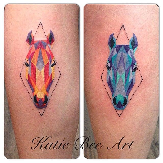 I love Katie Bee!! Matching geometric horse head tattoos by @katiebeeart!