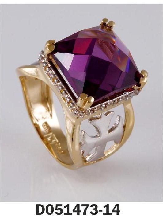 Ring Yellow Gold k18 and k14 Stones: Amethyst