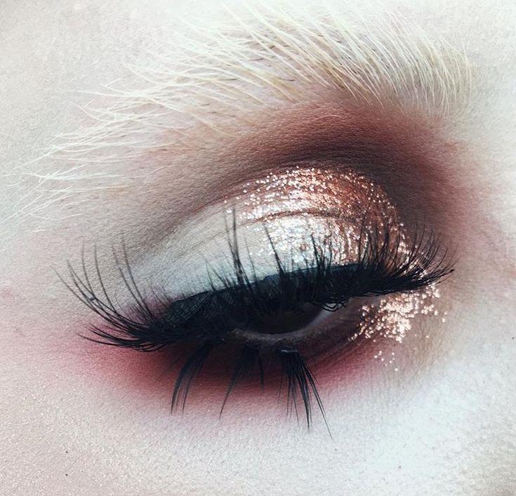 glitter eye | editorial eye look | copper eye | glam eye makeup | bleached brow