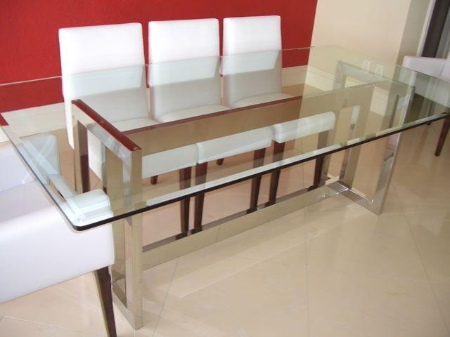 Mesa de jantar inox retangular tradicional - Jantar - Mesa - Produtos - Infinitinox - Sofisticação em ambientes com acabamento em Aço Inox - Brusque / SC