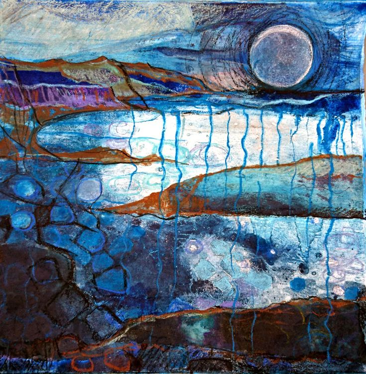 """Nightfall"" a collagraph print by Ruth McDonald www.ruthmcdonald.co"
