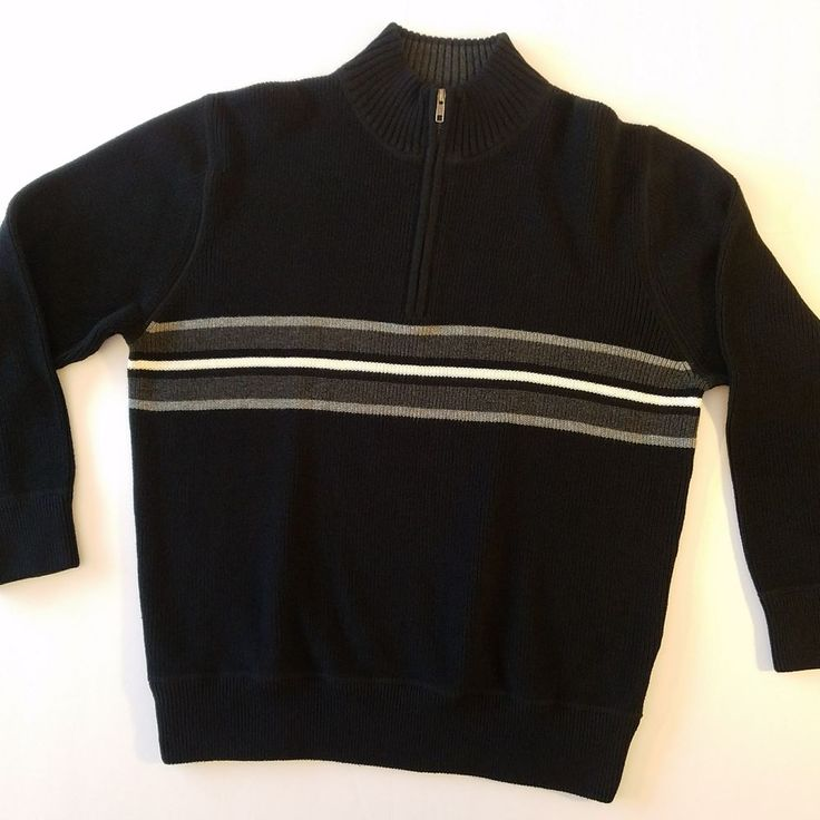 Eddie Bauer Mens Pullover Sweater Size Large 3/4 Zip Navy Blue Striped #EddieBauer #Pullover