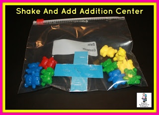 Shake and Add math Center! Students shake the bag and write the addition sentence made by the bears ending up on either side of the plus sign!