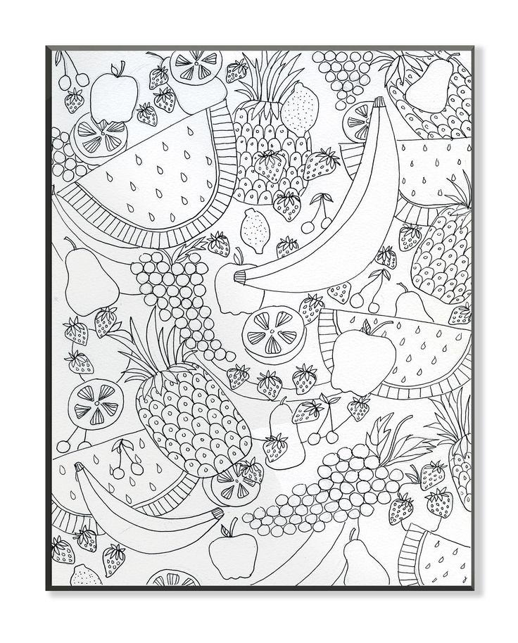DIY Coloring Wall Plaque Fruit Salad Painting Print